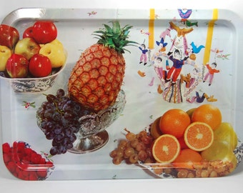 Vintage Metal Tray White Tray with Fruit Retro Decor Vintage Tin Tray Painted Fruit Decor Cottage Decor