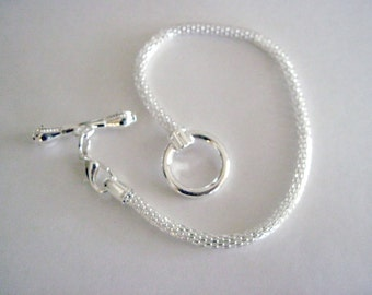 Bright Silver Bendable Snake Chain Bracelet With Toggle Clasp Fits Large Hole Beads  CLJewelrySupply