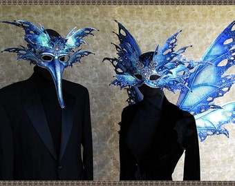 "Masquerade Mask**Iridescent Blue/Silver Fairy** ""His and Hers'"" Mask Set**FREE SHIPPING**Costume/Photography/Weddings (Masks Only)"