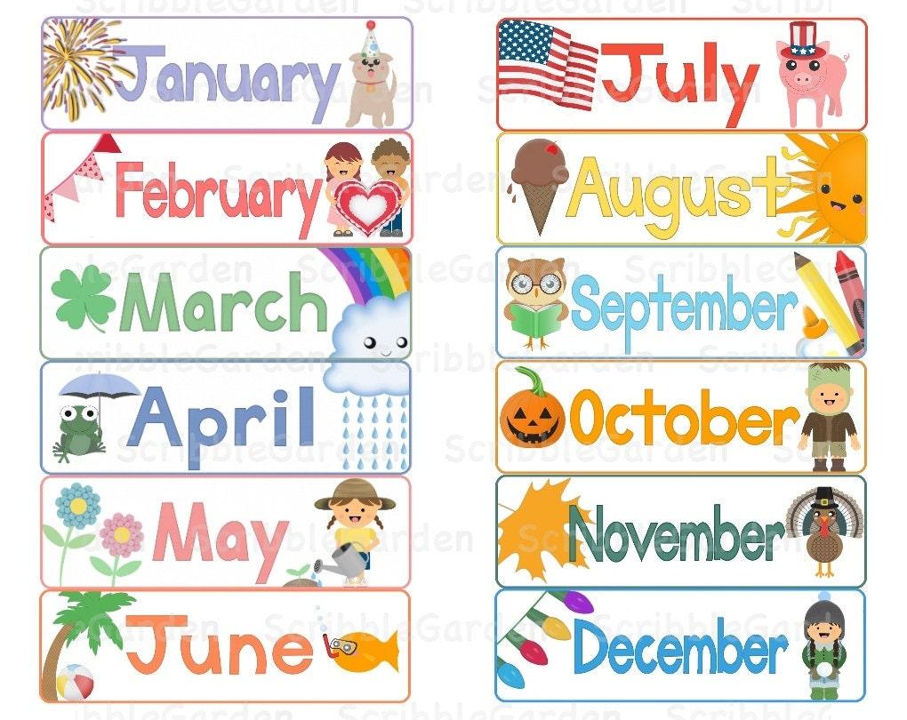 Months Calendar Toppers Banners ClipArt by ScribbleGarden ...