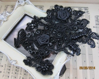 2pcs-Black Beaded Sequin Applique/NA19-Embroidered Applique/Sequin Applique/