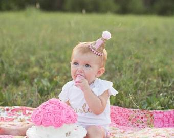 Mini Glittery Birthday Party Hat | Birthday | Cake Smash | 1st Birthday | Baby Birthday