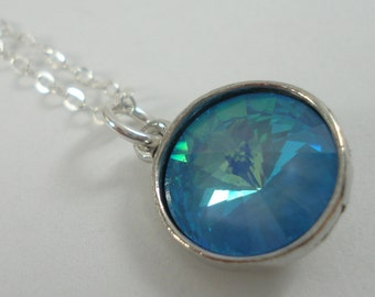 Blue Crystal Necklace - Swarovski Crystal Rivoli Necklace - Crystal Jewelry - Sterling Silver Charm Necklace - Crystal Pendant Necklace