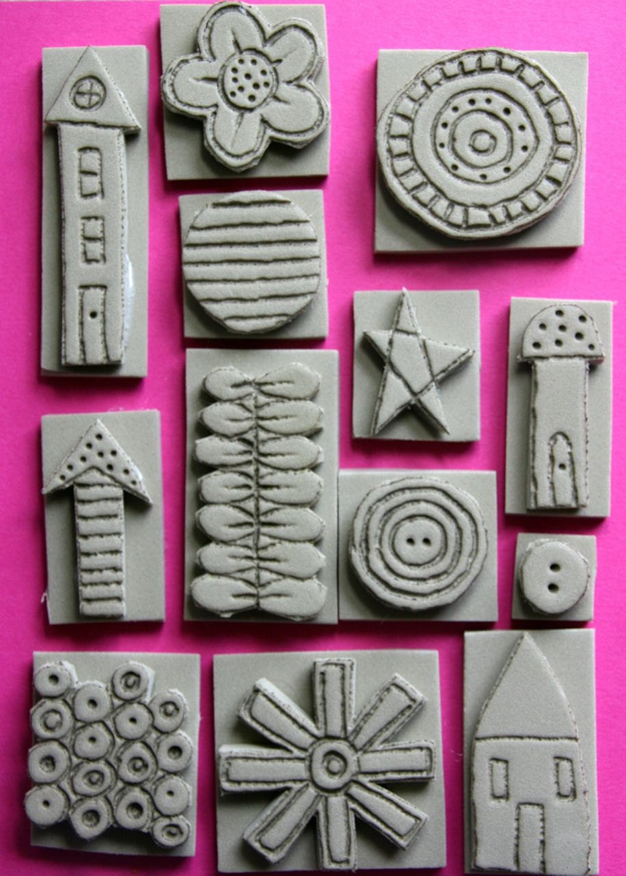 Foam stamps set hand carved mixed media