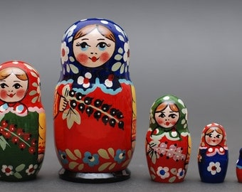 Russian Sergiev Posad nesting doll 5 pc Free Shipping plus free gift!
