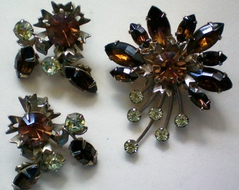 Amber, Brown & Pale Green Rhinestone Brooch with Earrings - 3273