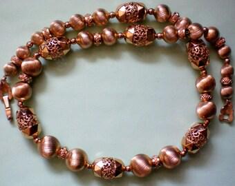 Gold tone Beaded Necklace Signed Monet - 2563