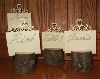 24 rustic wood wedding table number holders, , place holders, rustic wedding decor, wood place card holder ,tree card holders, tree bark