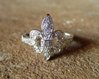 Fluer De Lis Ring/Rhodium Dipped Cubic Zirconia Fleur de lis Ring/ French Ring/French Jewelry