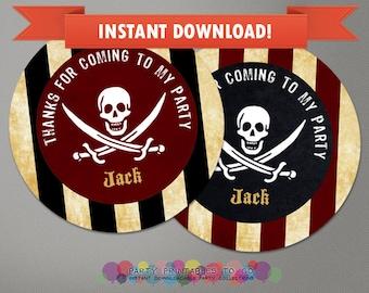 Pirate Printable Birthday Favor Tags - Editable PDF file - Print at home