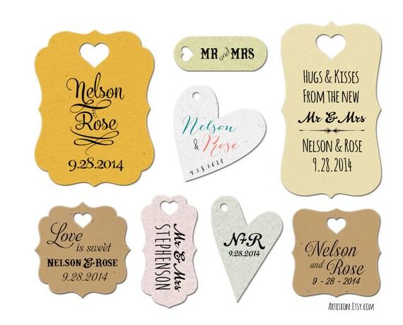 100 Wedding Favor Tags - Custom Favor Tags - Kraft, White, Gray, Thyme ...