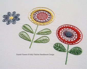 Scandi Flowers modern Scandinavian hand embroidery pattern - modern embroidery PDF pattern, digital download