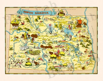 Pictorial Map of North Dakota - colorful fun illustration of vintage state map