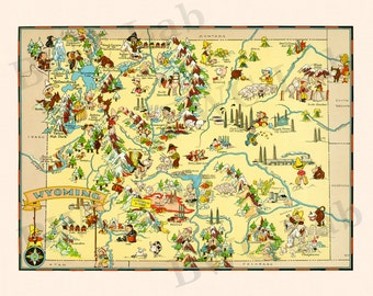 Pictorial Map of Wyoming - colorful fun illustration of vintage state map