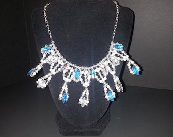 Elegant Crown Necklace -- Silver, Pearls, Crystal & Rhinestones