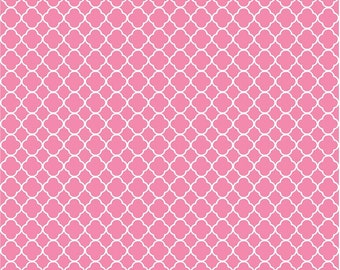 Pink quatrefoil craft  vinyl sheet - HTV or Adhesive Vinyl -  medium pink and white pattern vinyl HTV522