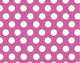 fuchsia with white dots craft  vinyl sheet - HTV or Adhesive Vinyl -  large white polka dot pattern