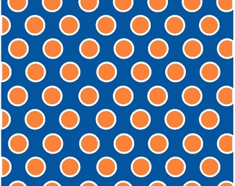 Blue with orange and white dots craft  vinyl sheet - HTV or Adhesive Vinyl -  large polka dot pattern HTV709