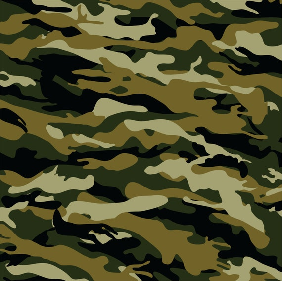 Camouflage Heat Transfer Or Adhesive Vinyl Sheet Green Brown