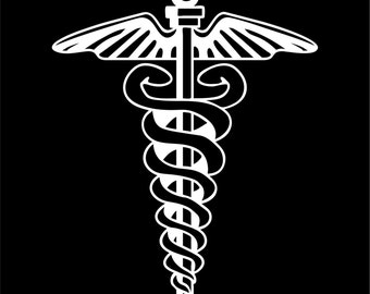 Caduceus Medical Decal Sticker Car Truck Window - Choice of Colors & Sizes