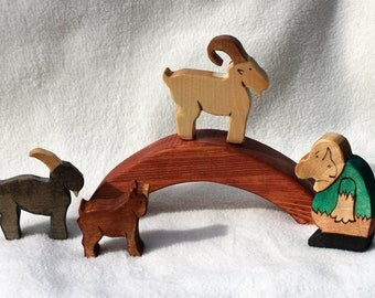 Three Billy Goats Gruff Wood Toy Set - Natural Eco Friendly Waldorf Wooden Toy