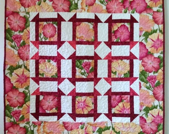 Quilt, Wall Hanging or Medium Sized Lap Quilt, Flowered