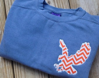 Comfort Colors Sweatshirt with Chevron Auburn War Eagle