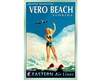 "VERO BEACH Florida -EASTERN Air Lines - New Travel Poster - 4 sizes up to 24""x 36"" - Retro Beach Pin Up Art Print 052"