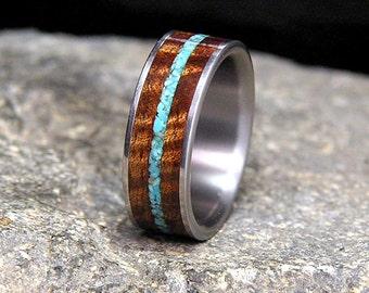 Very Curly Koa Sleeping Beauty Turquoise Inlay Titanium Wedding Band or Ring