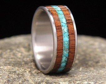 Kentucky Black Walnut Wood Turquoise Inlay Titanium Wedding Band or Ring