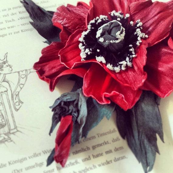 "Handmade genuine leather flower brooch, ""Poppy"""
