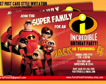Disney The Incredibles Party Package with Invitation - Printable and Customized with your personal details.  Digital Files.