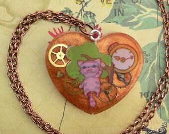 Alice in Wonderland Cheshire Cat  steampunk necklace