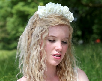 White Rose Flower Crown, White Rose Headband, White Flower Crown, Flower Crown, Rose Crown, Flower headband, Rose Headband, Festival Crown