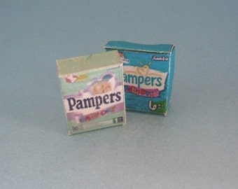 Pampers Boxes ~ Toddle & New Born ~ Nursery / Shop ~ 12th Dolls House Miniature