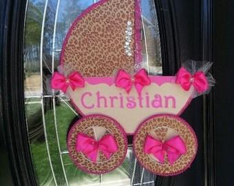 The Brianna Carriage Door Hanger / Hospital Door Hanger / Baby Shower Door Hanger / Cheetah Baby Shower