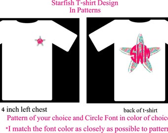 Monogram Shirt, Monogram Starfish Shirt