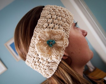 "Hand Knitted ""Daisy"" Head band in cream with turquoise beads"