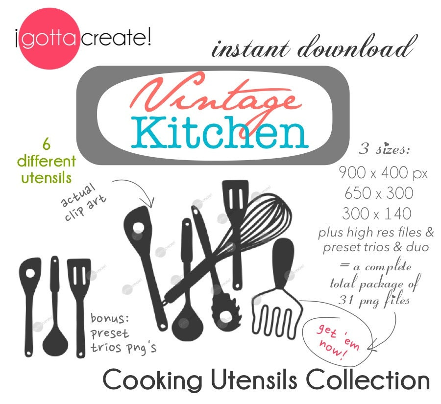 Vintage Kitchen Utensil Clip Art In Charcoal