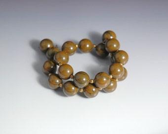 Vintage Costume Jewelry Bakelite Bracelet Beaded Memory Wire