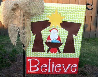 Custom Personalized Garden Sign Kneeling Santa
