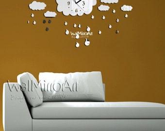 Modern wall clock, mirror wall clock,  rainy Shatterproof  mirror, unique living room wall clock