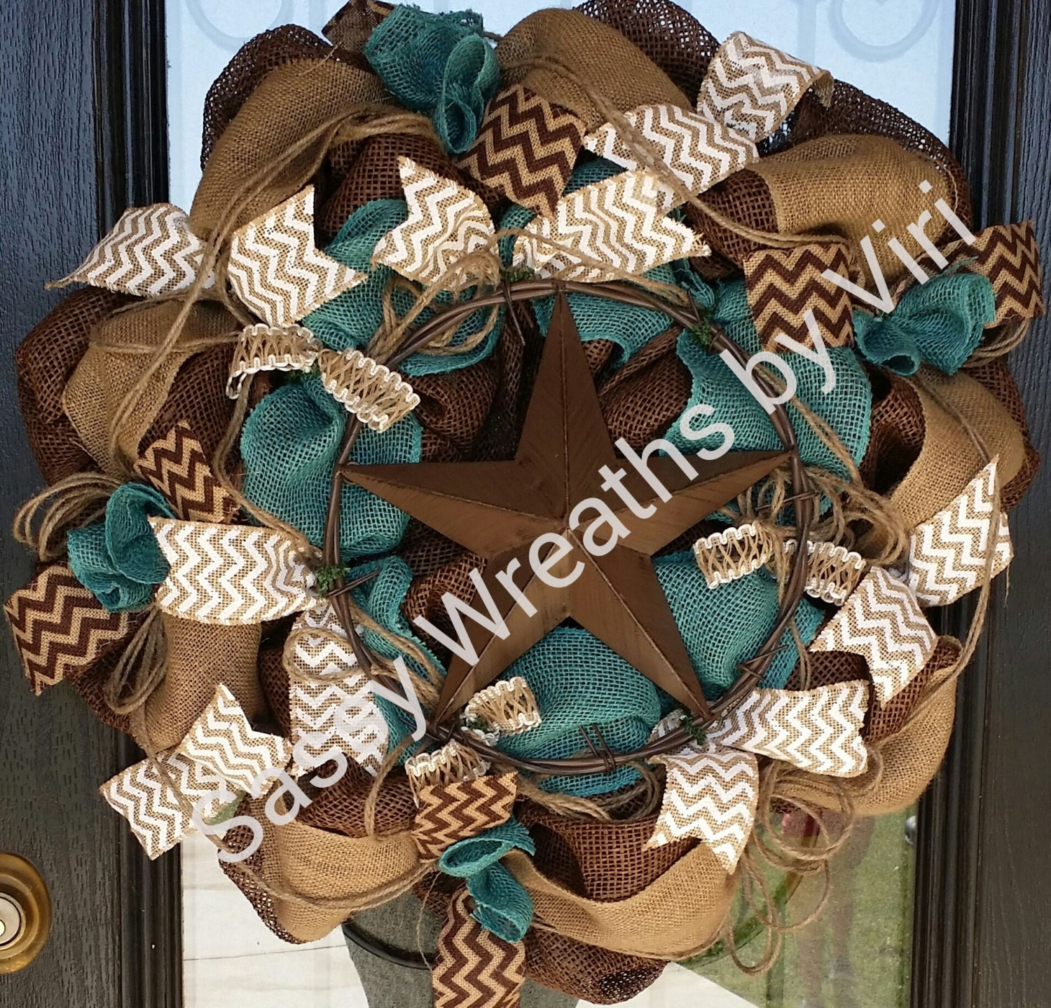 turquoise and brown western star burlap wreath