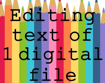 Editing Fee for Editing the Text of One Digital File for an Instand Download Item