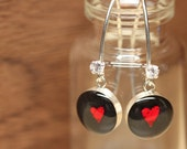 Starbucks Red Heart earrings with sterling silver, resin and cubic zirconia. Made from recycled, upcycled  gift cards.