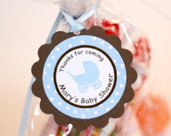 Baby shower favor tags Baby blue carriage thank you tags, (12)  Blue and brown Baby Shower Decorations