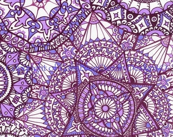 Paisley Pattern in Purples. Unframed original. 29.5 x 41cm.