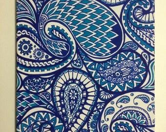 Blue Paisley Pattern Canvas. 30 x 40cm