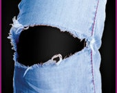 Easy-to-apply Black Patch for your distressed or destroyed Jeans .
