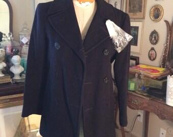 Vintage Navy Blue Peacoat-- US Navy Reserve Clothing